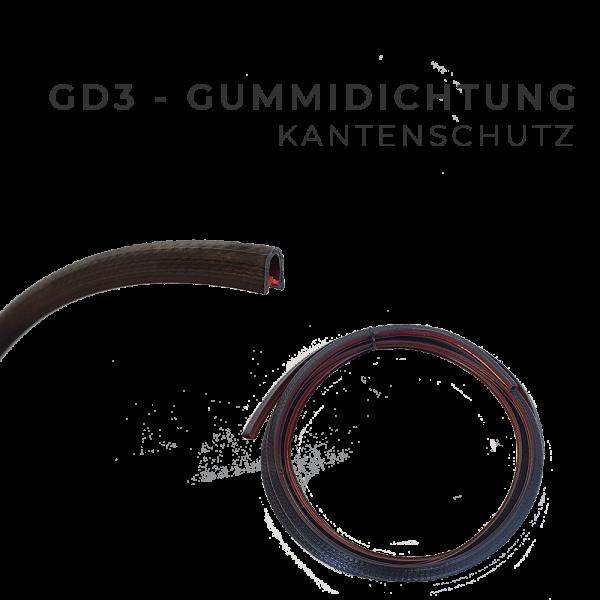 GD3 - Gummidichtung, Kantenschutz für Universal Scheibe mit Schiebefenster
